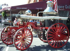 A steam-powered fire engine from 1885.