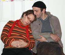 Inside, Jenn dozes off.