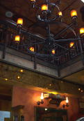 A look up at the chandelier and the second floor of Patty Bolands pub in the Market.