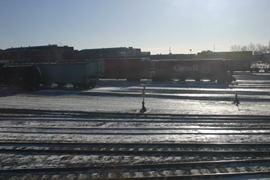 A railyard.