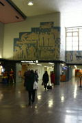 Inside the Montreal train station.