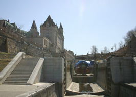 The Rideau Canal locks, with the Fair Jeanne in one of the locks,  where it winters.