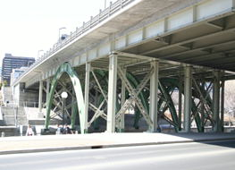 The underside of the Laurier Street Bridge, including the two  new arches that were added on this (the South) side of the  bridge in the past few years to widen the bridge.