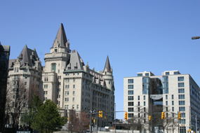 The Chateau Laurier and the new 700 Sussex ubber-expensive  condo building, which is mostly complete construction.