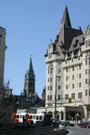 The Peace Tower and the Chateau Laurier.