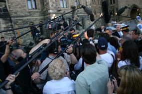 And the media stampedes over there.  Stephen Harper didn't  come out, probably because he was crying under his desk.