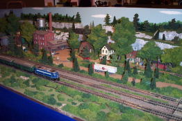 This HO gauge set up was quite detailed and well laid out.