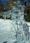 This made me laugh!  Its a Gundam RX-78.  Anime in ice!