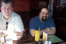 Craig and Denis at Patty Boland's on Denis' last day in Canada  before he returns to <A HREF=