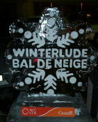 The Winterlude / Bal de Neige logo in ice in front of the Westin  Hotel.  These can be seen at places that are sponsors of  Winterlude - at least thats what I think.  A great way to spend  the day - 15.6 KM of walking on a nice winter day.  [<A HREF=