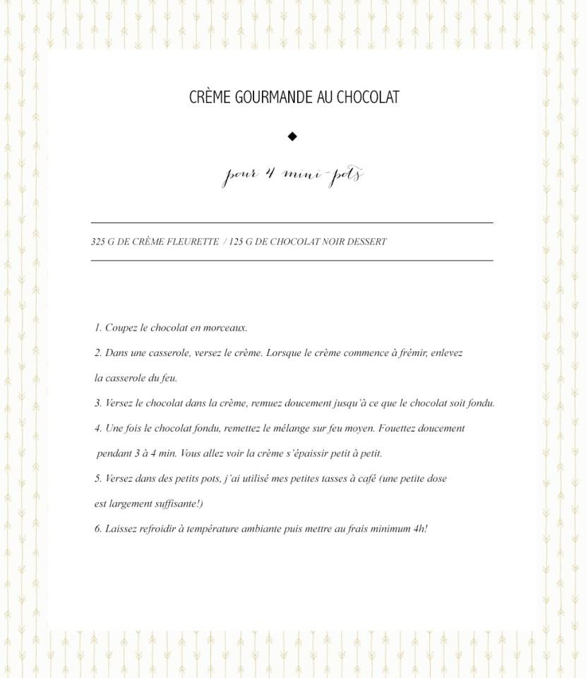 Crème gourmande chocolat photo recette les bichettes