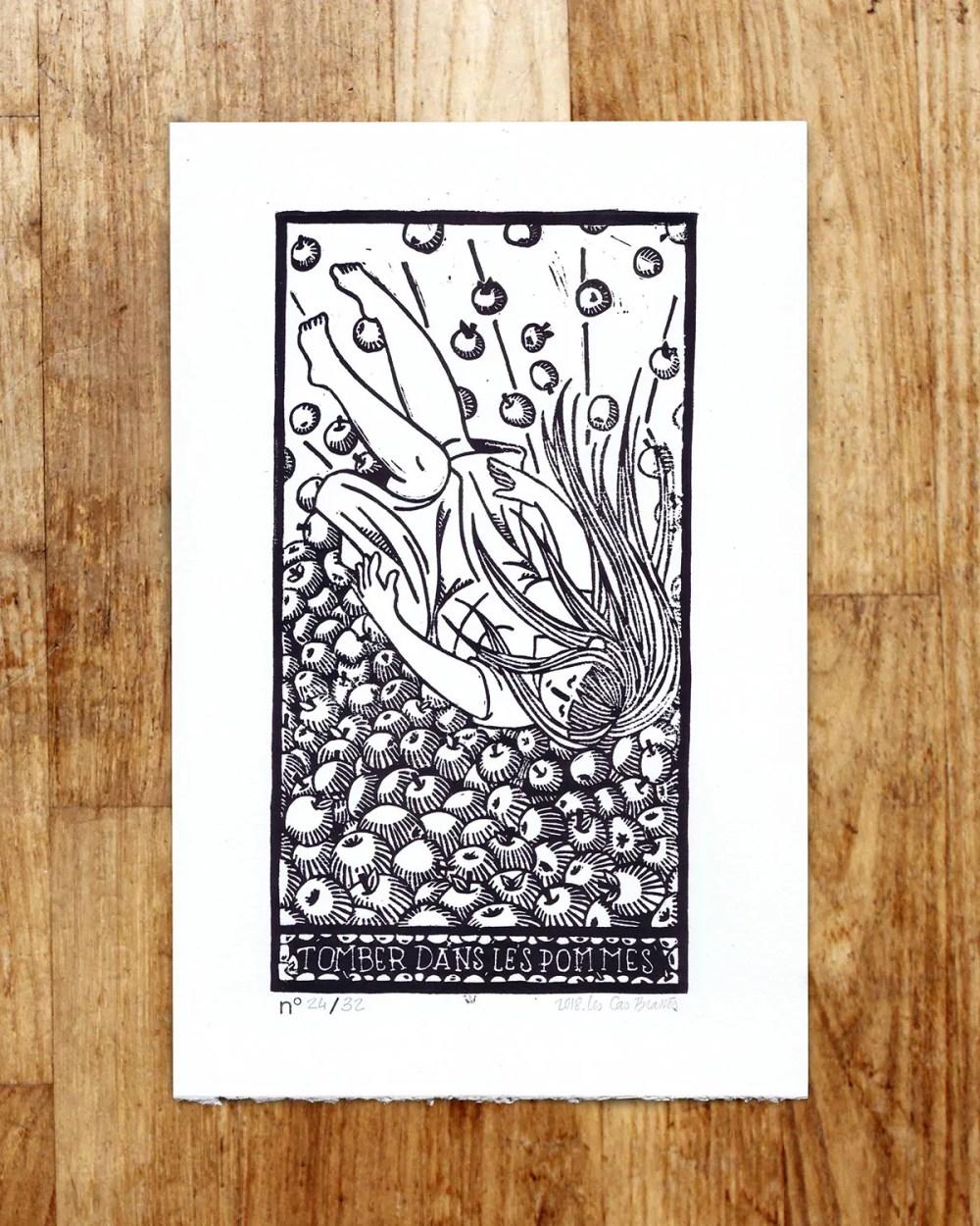 Expression « Tomber dans les pommes » - estampe signée & numérotée
