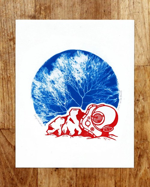 Estampe & cyanotype « Scaphandre »