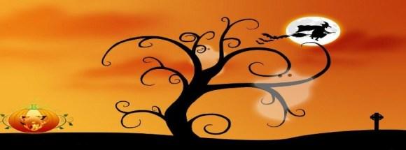 sorcière sur fond orange - Photo de couverture journal Facebook