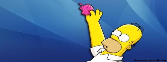 Homer Simpson attrape un Donut Apple COuverture facebook