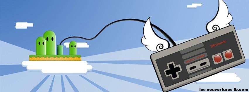Manette NES avec des ailes Couverture Facebook