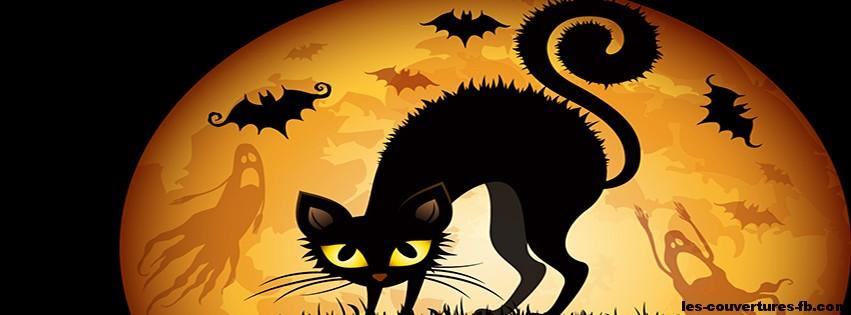 Chat noir pleine lune Halloween Couverture Facebook