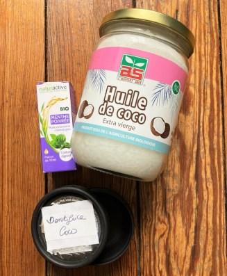 Ingrédients dentifrice à l'huile de coco