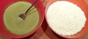 mélange des sucres, thé matcha, agar-agar