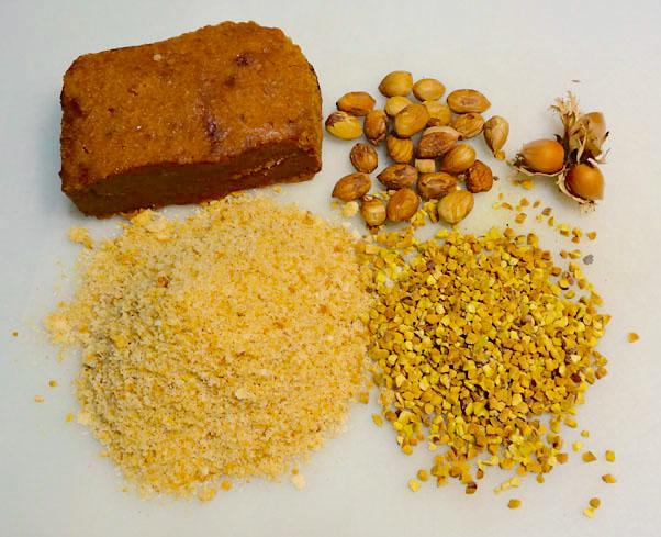 pâte de dattes, poudre d'amandes, éclats de pistaches, noisettes entières