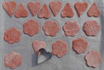 croquants aux biscuits roses de Reims avant cuisson