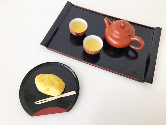 中国茶器に入れたジャスミン茶とスウィートポテト,KUSMI TEA,Jasmine green tea,