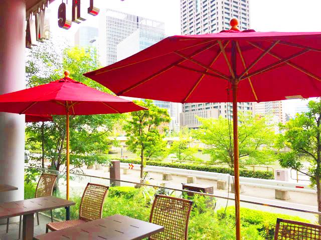 ボガーツカフェ,大阪堂島,テラス席からの眺め