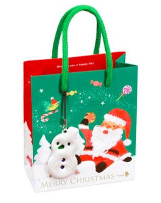 メリーチョコレート,クリスマスミニバッグ,緑色のミニバッグ,ストラップはスノーマン,税込432円,Mary Chocolate,Mary's,
