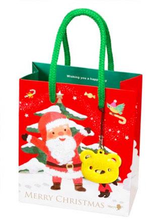 メリーチョコレート,クリスマスミニバッグ,赤色のミニバッグ,ストラップは黄色のベア,税込432円,Mary Chocolate,Mary's,