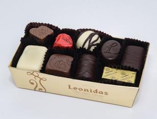 レオニダス,ショコラアソート9P,マノンカフェなど、人気のチョコが金色のバロタンボックスに入っている,バレンタイン,2021,チョコレート,Leonidas,Valentine,chocolate,