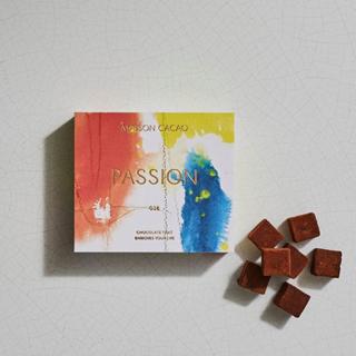 メゾンカカオ,生チョコレート PASSION(パッションフルーツ)のパッケージと中身,本体価格2,400円,2021年度の新作,バレンタイン,2021,チョコレート,MAISON CACAO,Valentine,chocolate,
