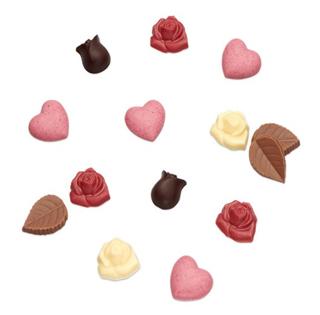 メサージュ・ド・ローズ,ミニローズ・ベリーの中のチョコレート,小さな薔薇やハート型のチョコ,バレンタイン,2021,メサージュドローズ,MESSAGE de ROSE,チョコレート,Valentine,chocolate,