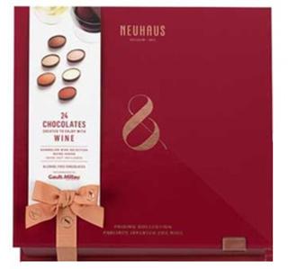 ノイハウス,ワインペアリング ボックス 24個入のワインレッドの箱,バレンタイン,2021,チョコレート,ベルギーチョコレート,NEUHAUS,Valentine,chocolate,
