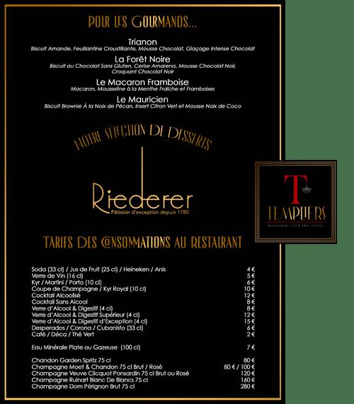 Carte dessert Site templiers