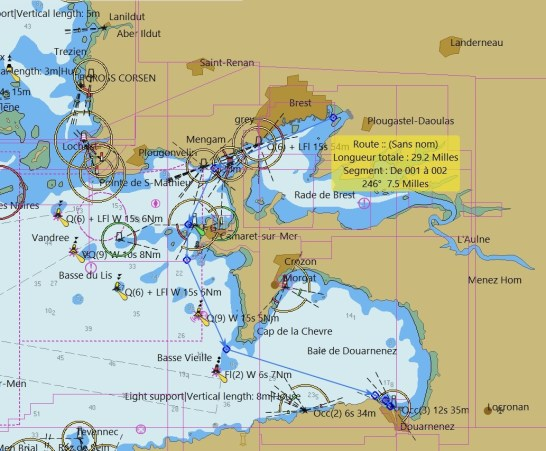 navigation de Brest à Douarnenez