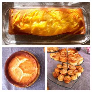 cake citron, cheese cake, muffins pommes amandes