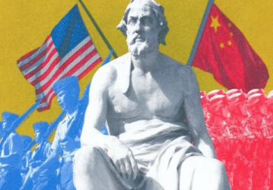 L'empire chinois (eurasien) encercle l'empire américain (île lointaine entre deux océans)