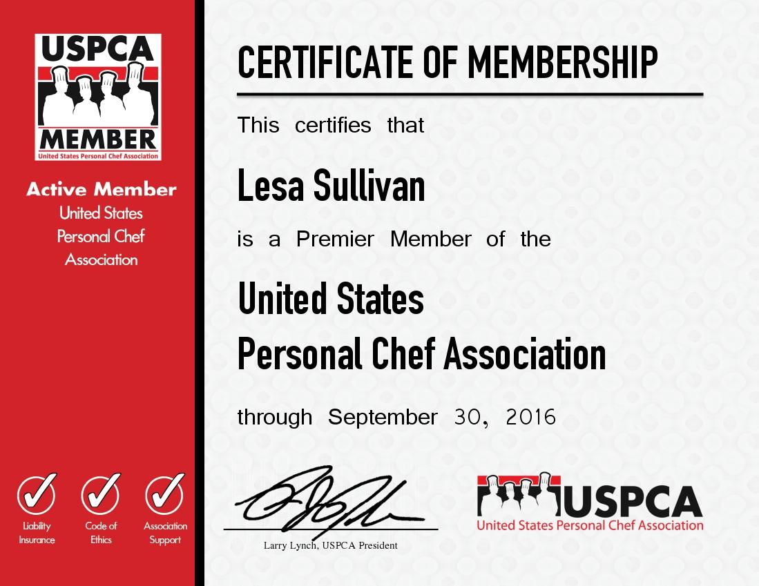 Membership Certificate - Lesa Sullivan