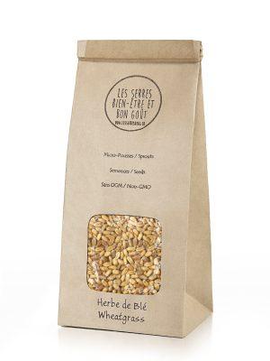 Nos semences d'Herbe de blé biologiques et sans OGM, vous pouvez maintenant vous les procurer en plusieurs formats et faire vos pousses à la maison.