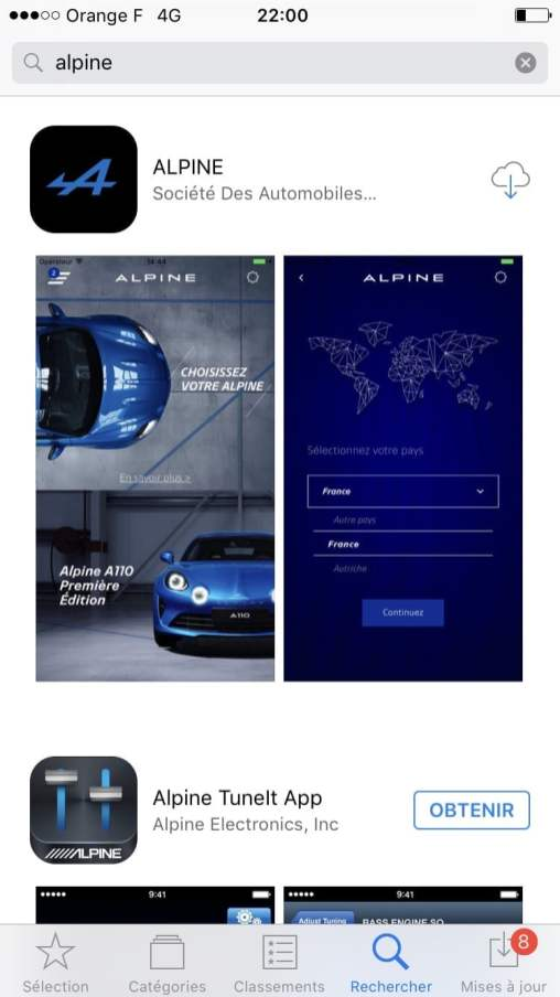 Réserver Alpine A110 iOS Android iTunes mobile - 1