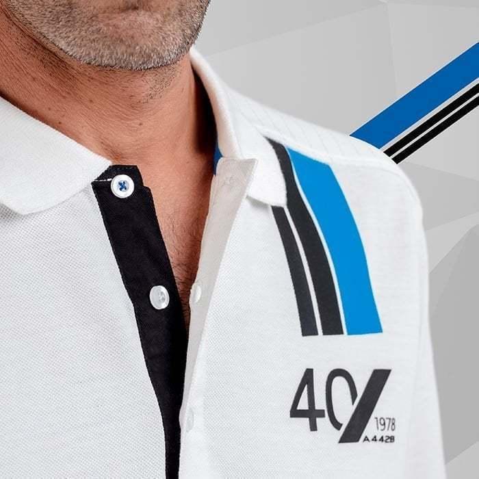 polo homme manches courtes blanc 1 Alpine Collection 1978 boutique anniversaire 40 ans 24 heures du mans