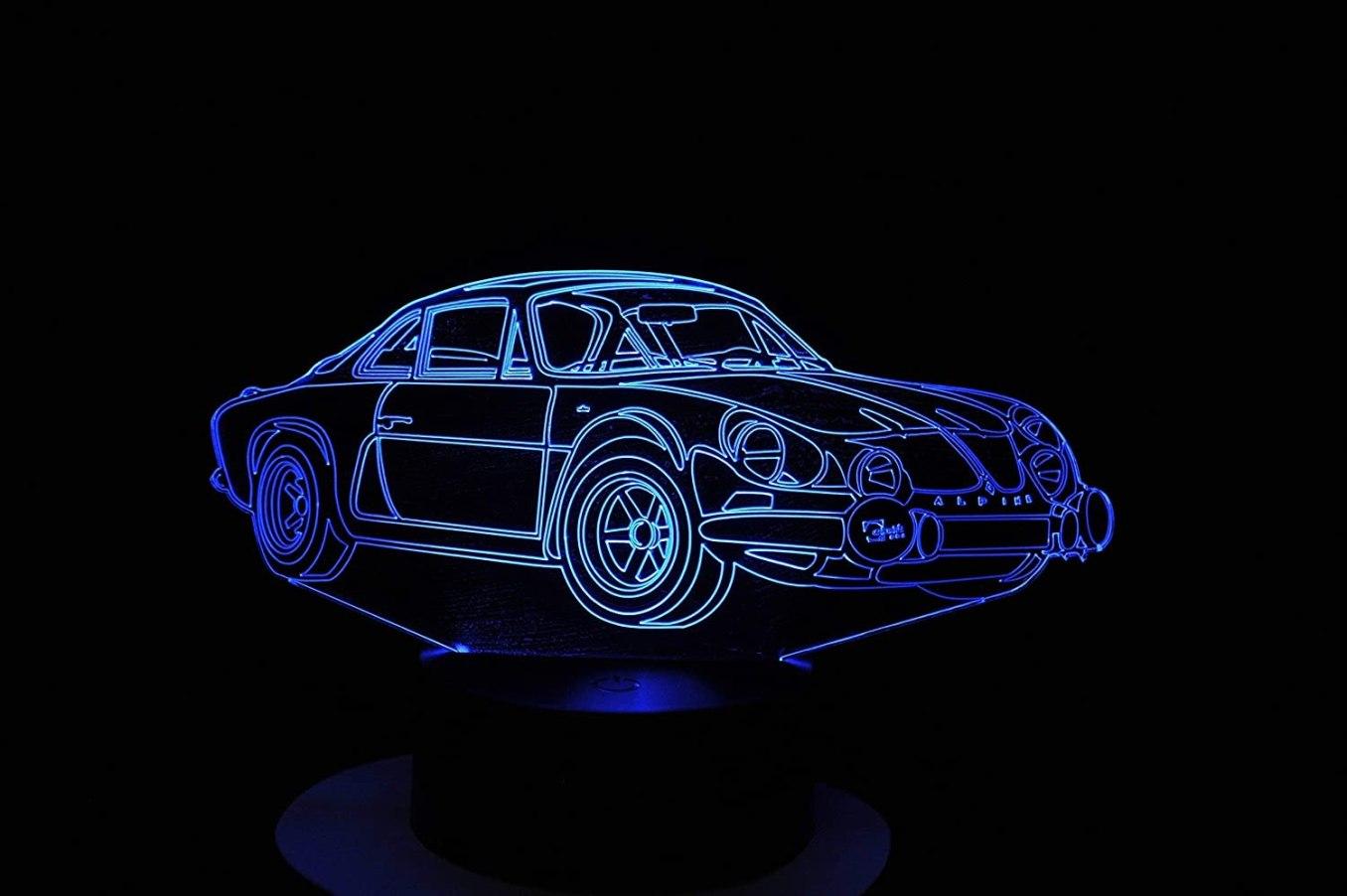 A110 Berlinette lampe 3D a LED led illusion 3D 7 Couleurs   30 idées de cadeaux de Noël pour les passionnés d'Alpine
