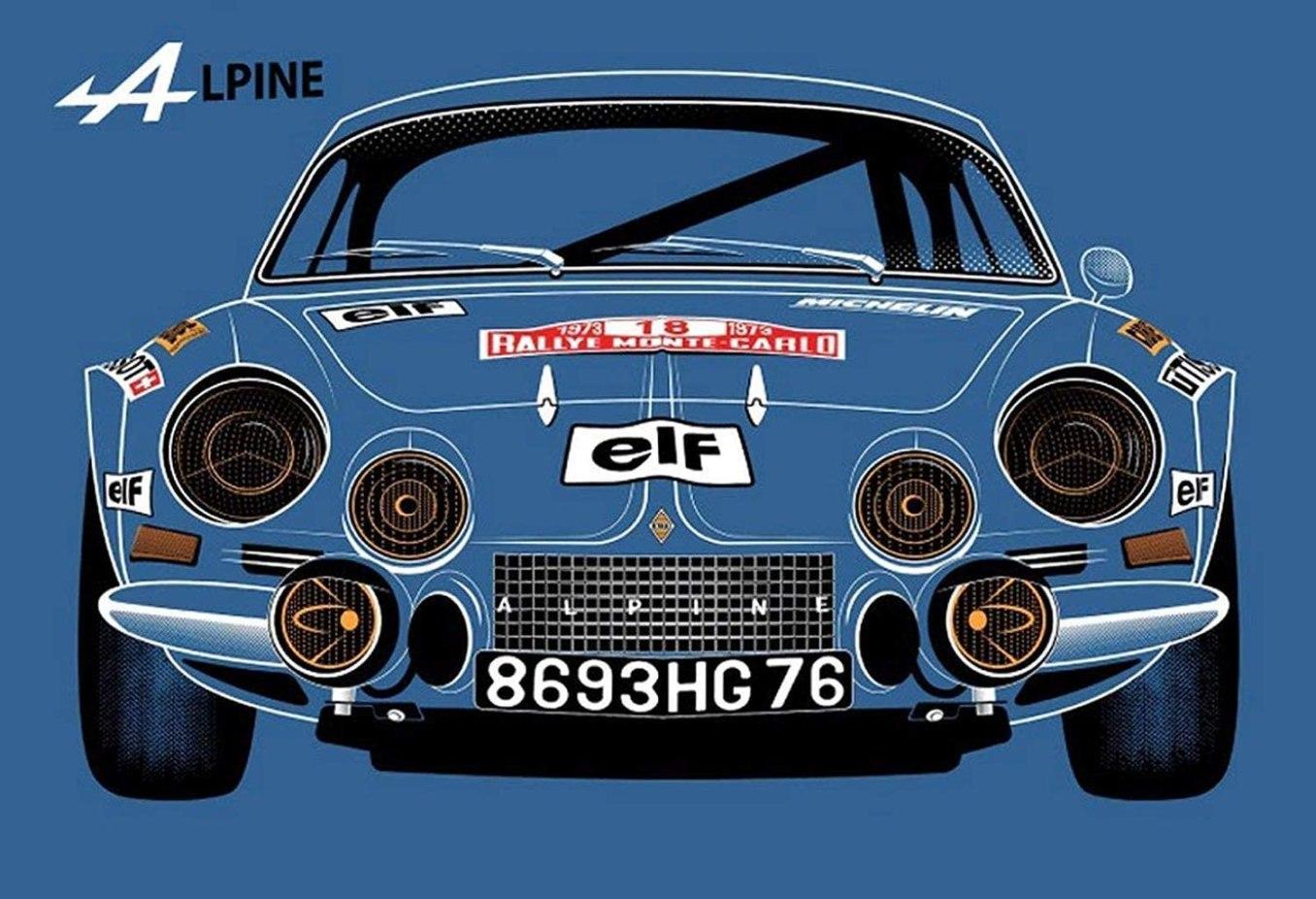 KELLEN WHITEHEAD Renault Alpine Blau Affiche De Decoration Drole De Panneau De Mur en Metal Art   30 idées de cadeaux de Noël pour les passionnés d'Alpine