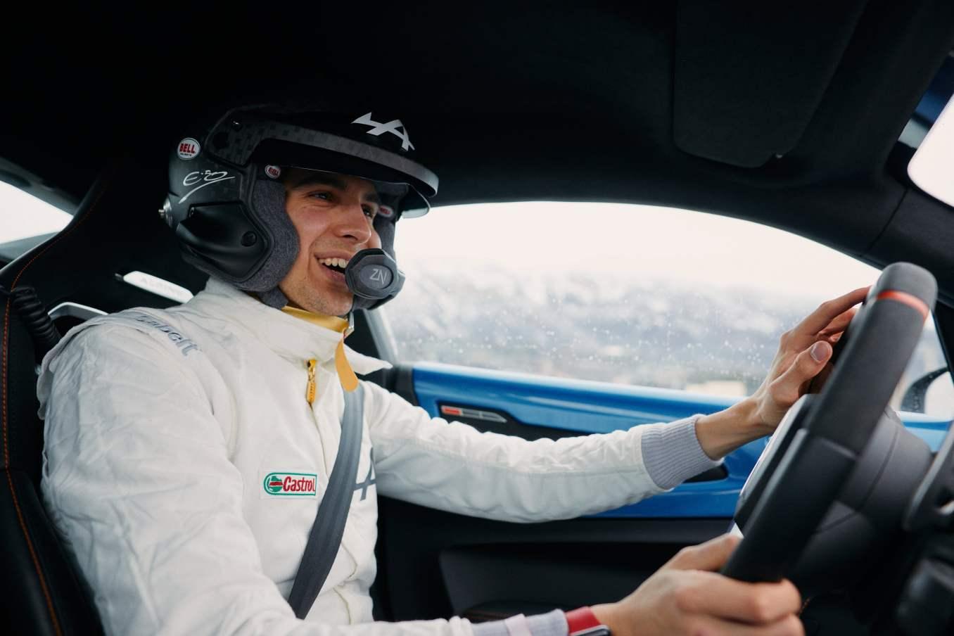 Esteban Ocon Rallye Monte Carlo 2021 Alpine A110 F1 Team 4   Esteban Ocon s'essaye à l'Alpine A110S au Rallye Monte-Carlo