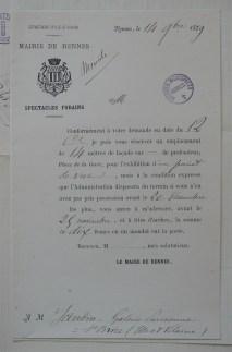 Contrat de mise à disposition par la Mairie de Rennes d'un terrain pour une attraction foraine, 1879. Cliché Grégory Delauré, Archives de Rennes, I47.