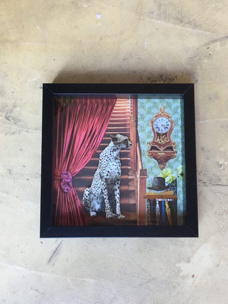 3D paper collage with a cheetah waiting for somebody on the stairs, 2018