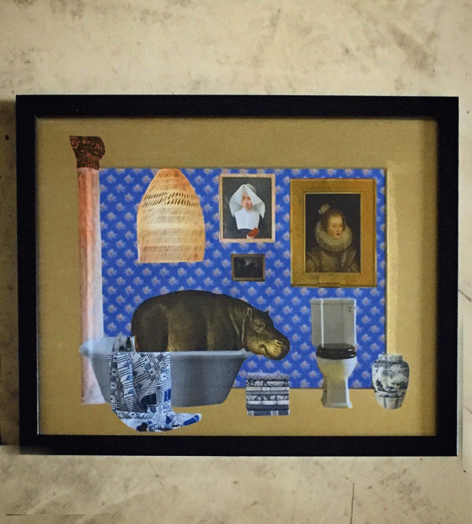 Paper collage with a lady hippo having a milk bath in an elegant bathroom. Gold acrylic frame, 2017