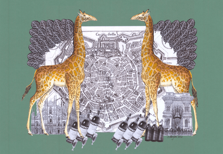 Paper collage with symmetrical giraffes on a vintage map of the city of Milan. Bottles of Martini and the facade of Galleria Vittorio Emanuele evoke the famous Piazza Duomo, 2016