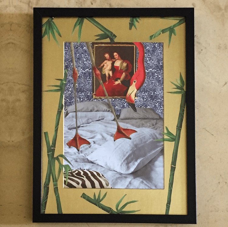 Paper collage with a pink flamingo on a bed inspecting the room. Decorating bamboo leaves on a gold acrylic frame, 2017