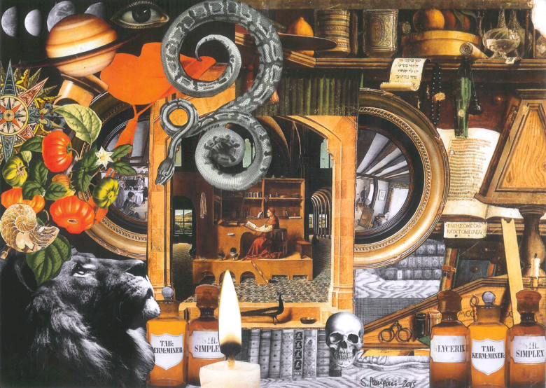 Paper collage with Saint Jerome studying in his Wunderkammer surrounded by all the elements of the legend such as old books, a skull, pharmacy bottles for his experiments and the lion, 2015